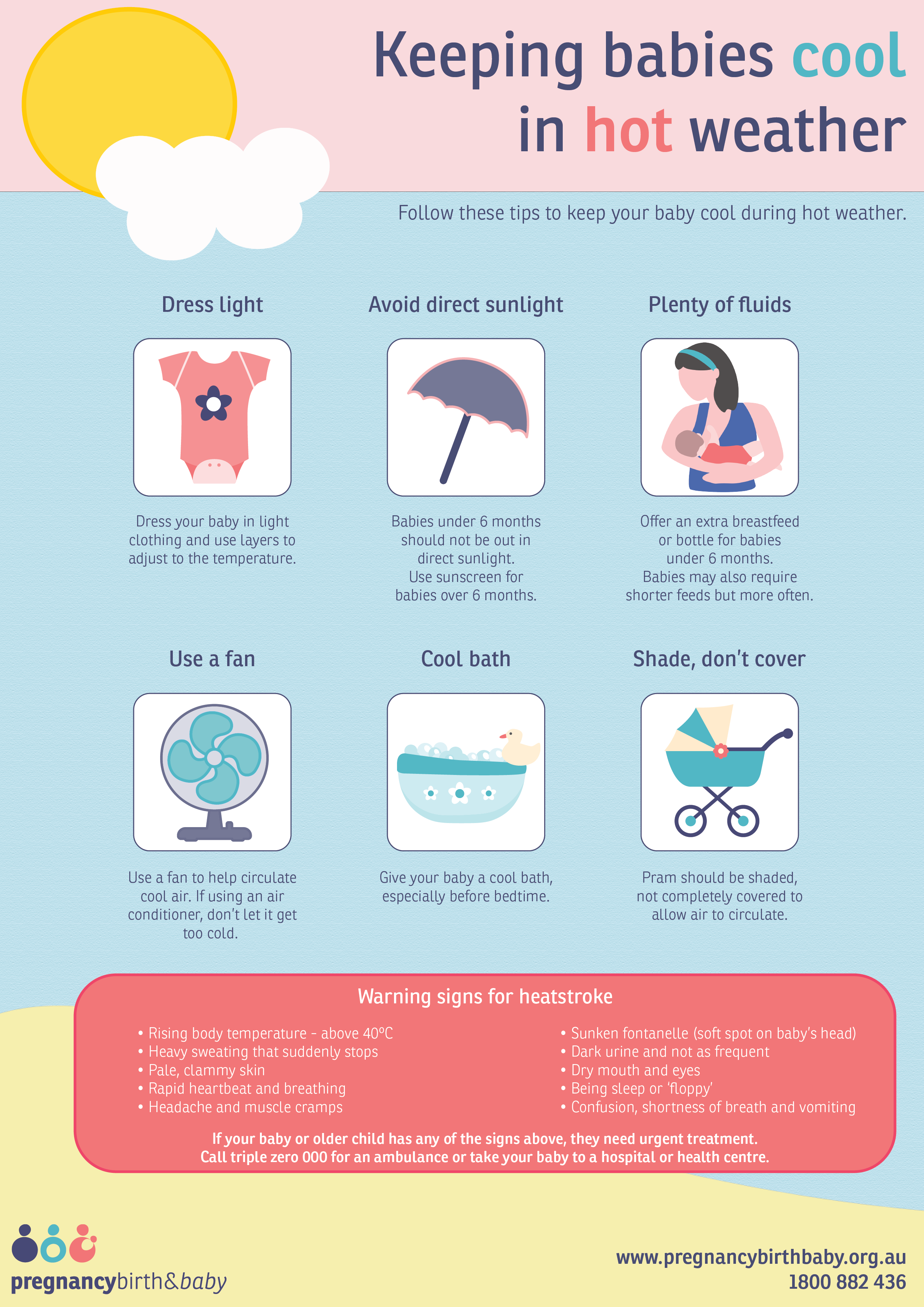 Keeping babies cool in hot weather - infographic