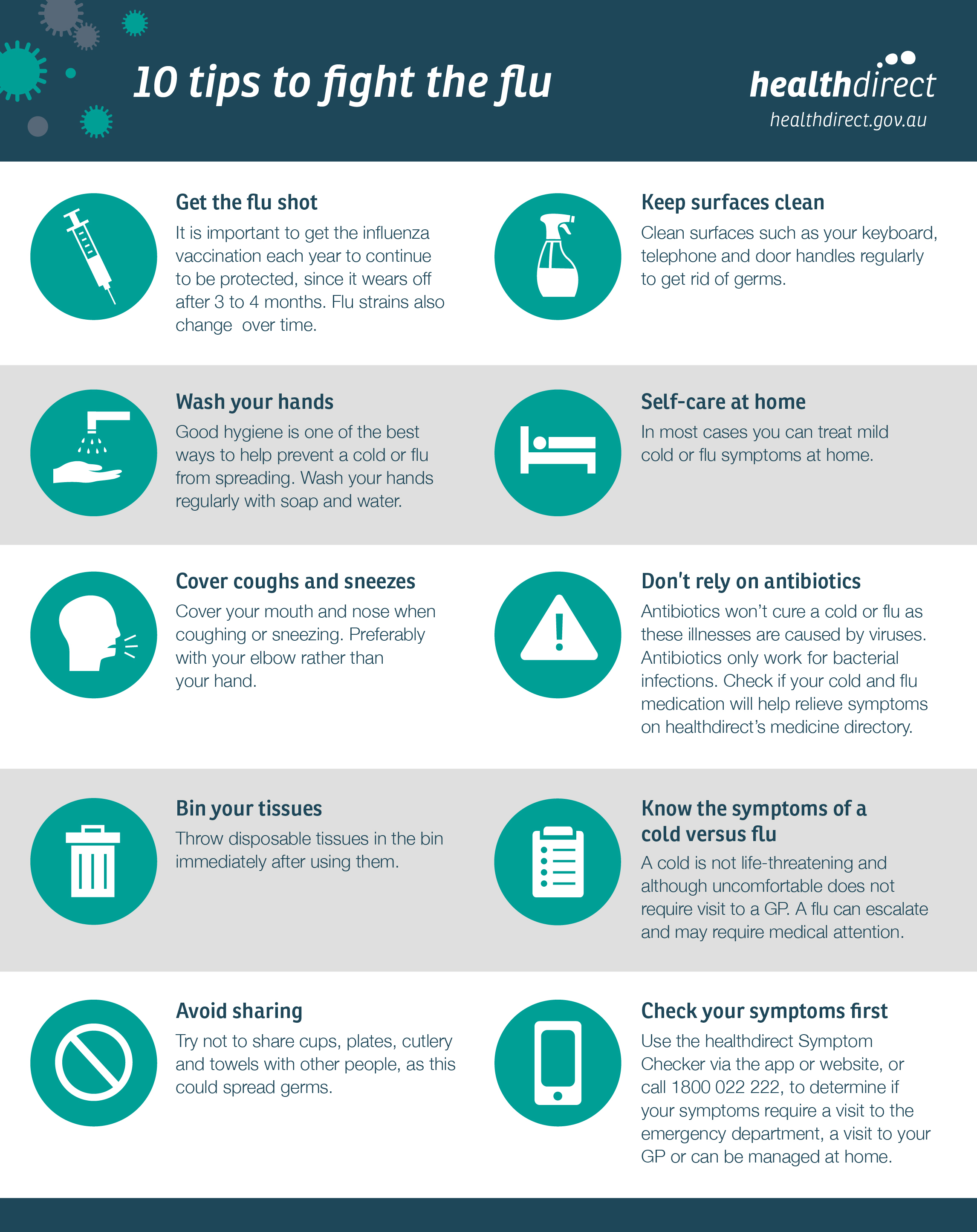 10 tips to fight the flu infographic