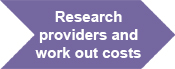 Research providers and work out costs