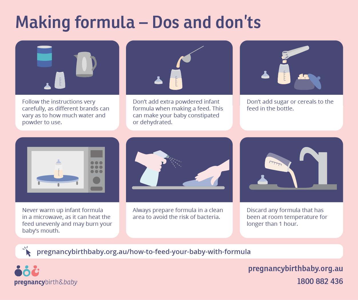 Making formula – dos and don'ts - infographic