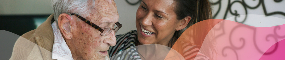 Carer and aged care home resident