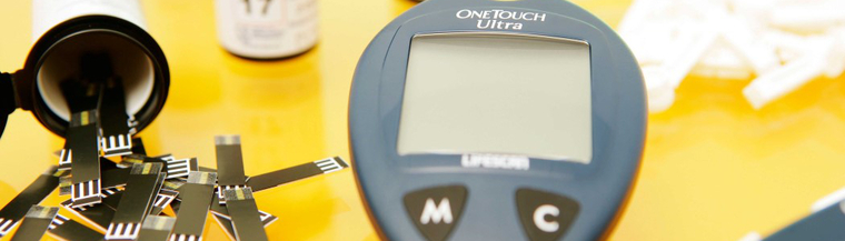 Equipment to test blood sugar levels.