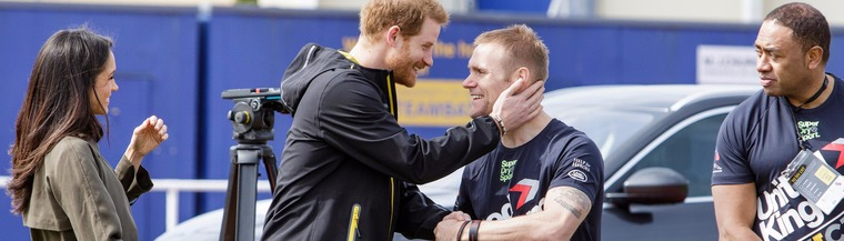 Prince Harry and Meghan Markle meet amputees at the Invictus Games trials in Bath, UK, in April 2018.