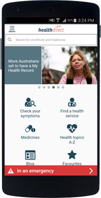 Screenshot of healthdirect app